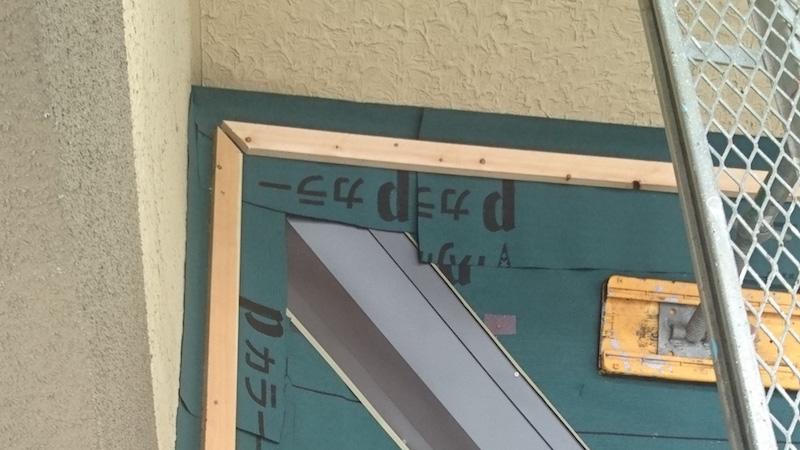 下屋根のルーフィングシートの施工