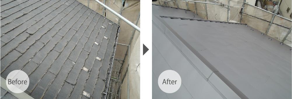 草加市の屋根カバー工法のビフォーアフター