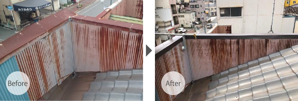 柏市のパラペットの笠木の交換工事のビフォーアフター