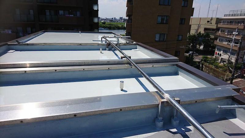 屋上防水工事の施工後の様子