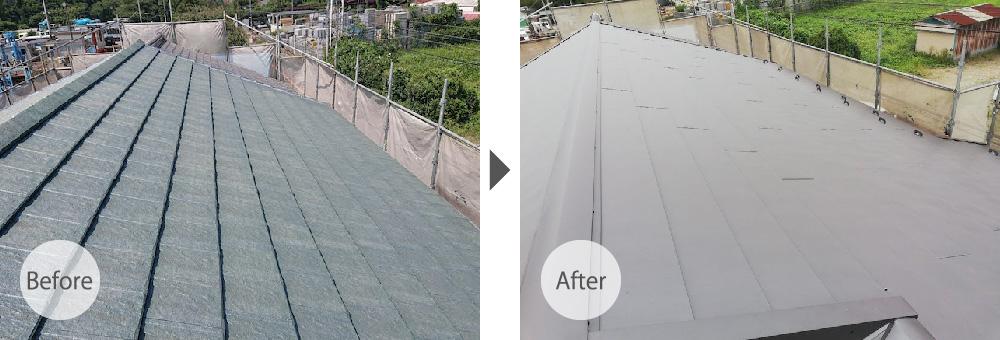 千葉県千葉市の屋根葺き替え工事のビフォーアフター
