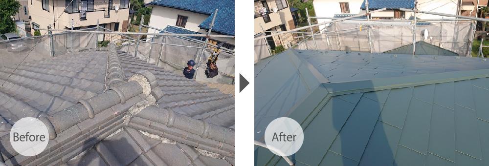葛飾区の屋根葺き替え工事のビフォーアフター