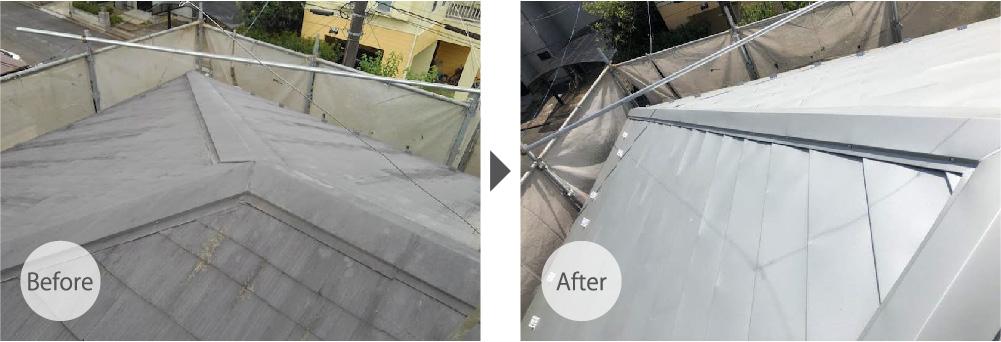 柏市の屋根カバー工法のビフォーアフター