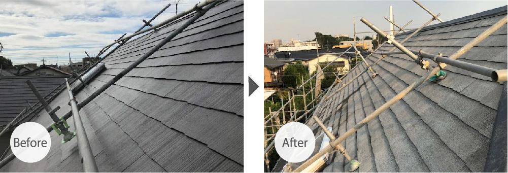 千葉市の屋塗装工事のビフォーアフター