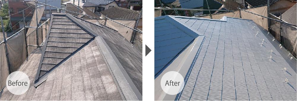 川口市の屋根塗装のビフォーアフター