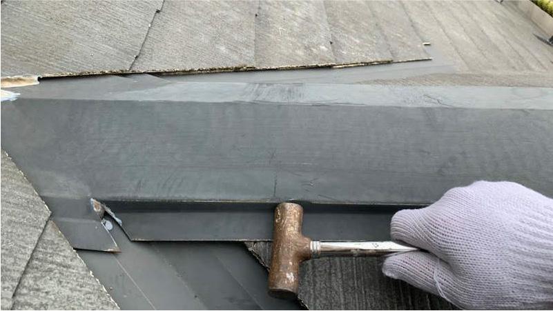 棟板金の釘の補修