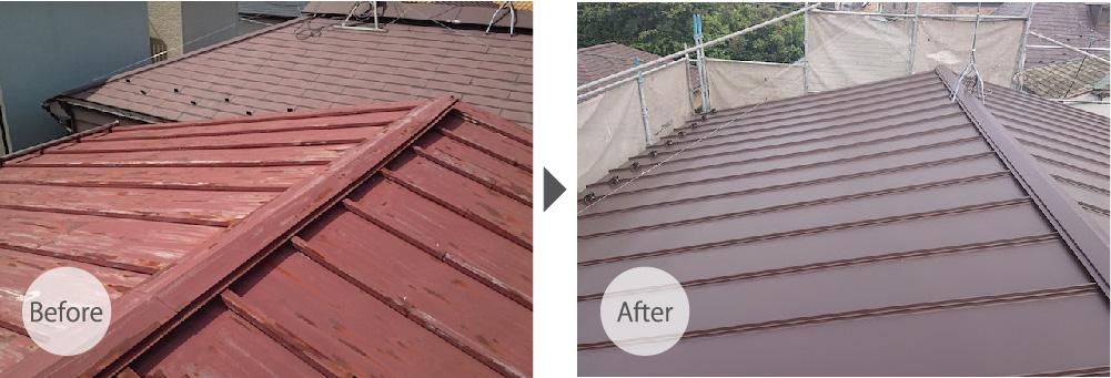 大田区の屋根葺き替え工事のビフォーアフター