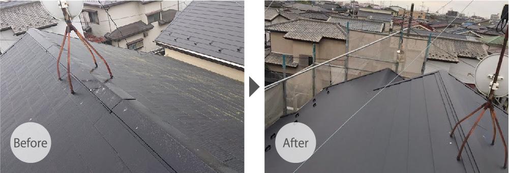 埼玉県三郷市の屋根カバー工法のビフォーアフター