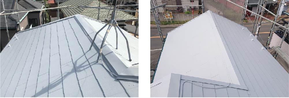 市川市の屋根塗装の施工後の様子