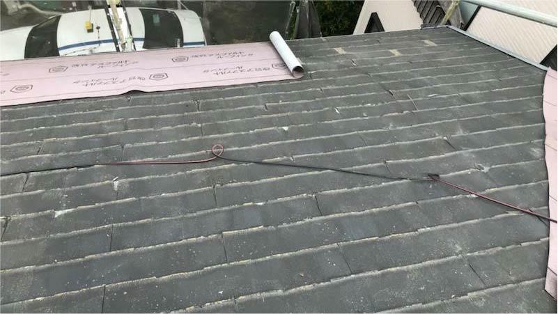 埼玉県三郷市の屋根リフォームのルーフィングの施工