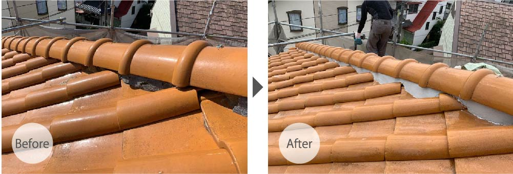 千葉市の屋根修理(棟の積み直し工事)のビフォーアフター