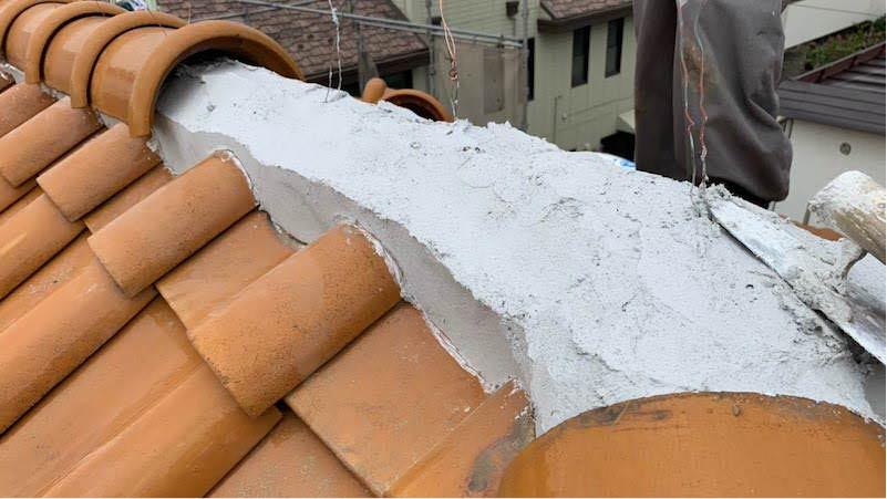 千葉市の棟撮り直し工事の棟瓦の施工