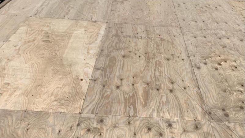 松戸市の屋根葺き替え工事の野地板の施工