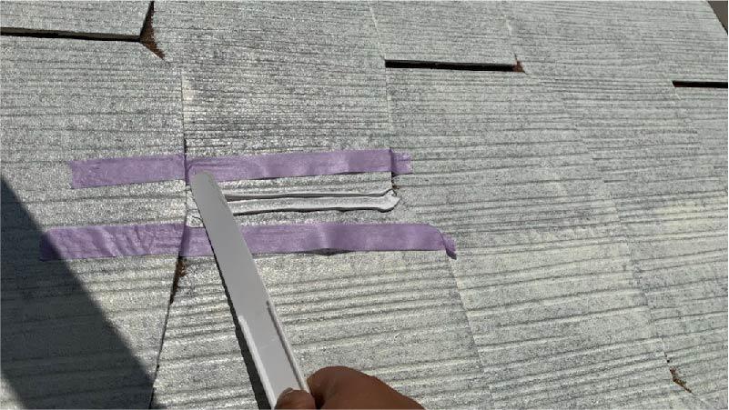 越谷市の屋根塗装のクラックの補修