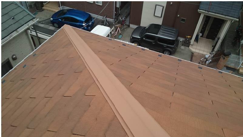 越谷市の屋根塗装の施工前の様子