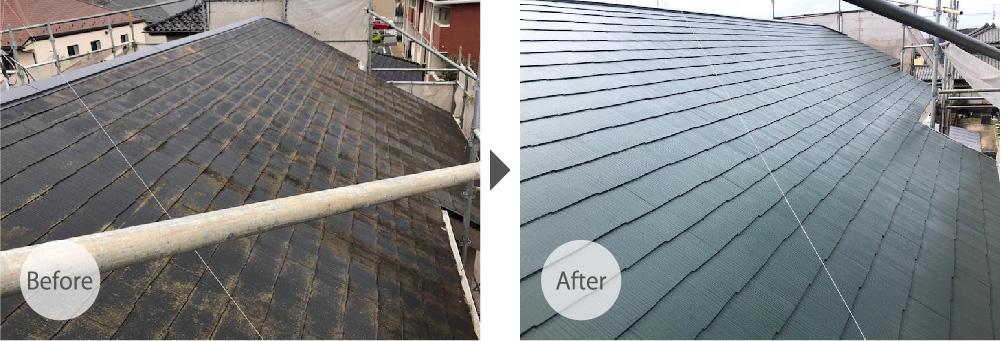千葉県四街道市の屋根塗装ビフォーアフター