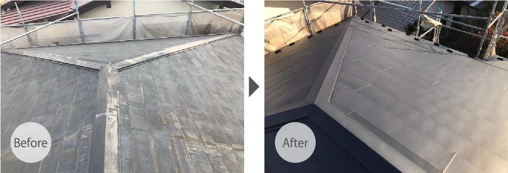 市川市の屋根カバー工法のビフォーアフター