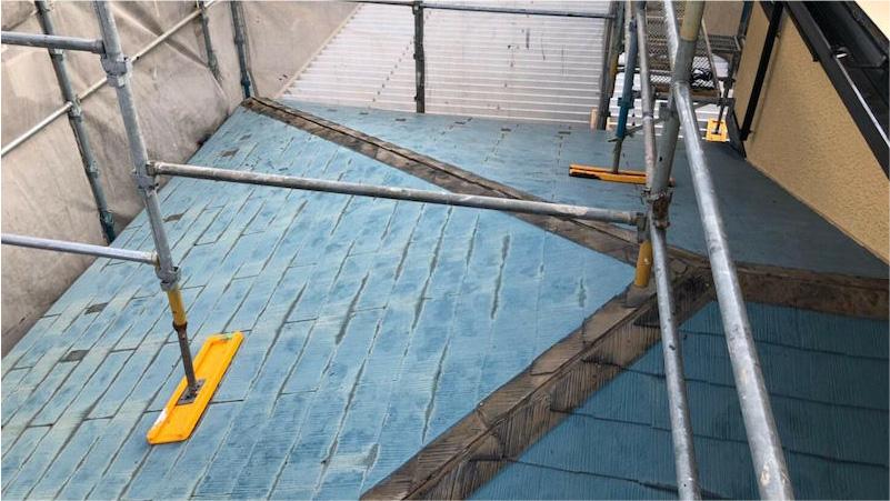 棟下地の撤去後のスレート屋根