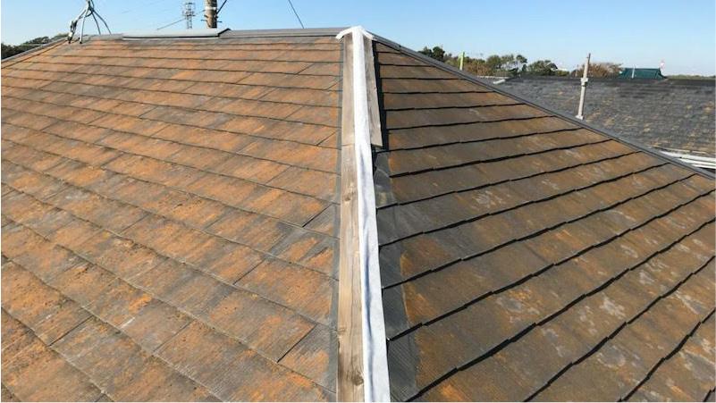 台風で屋根板金が飛散したスレート屋根