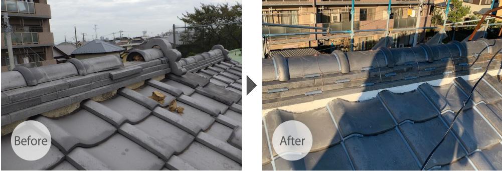 草加市の屋根修理のビフォーアフター