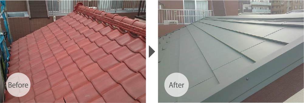 足立区の屋根葺き替え工事のビフォーアフター