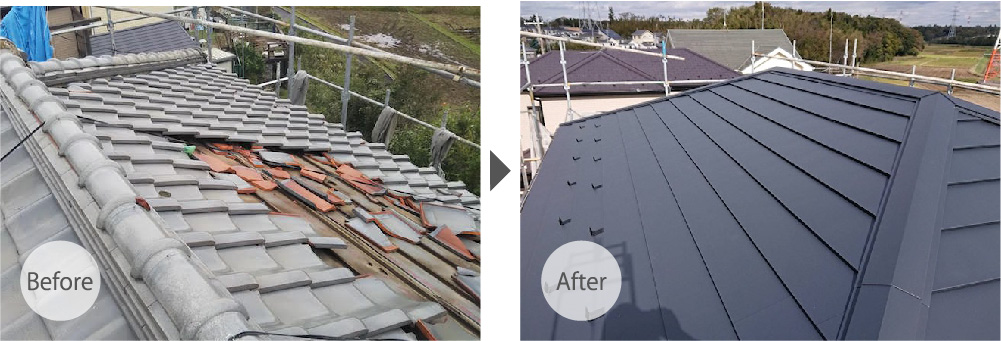 船橋市の屋根葺き替え工事の施工事例のビフォーアフター