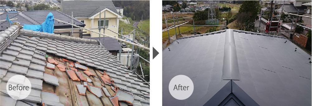 船橋市の屋根葺き替え工事のビフォーアフター