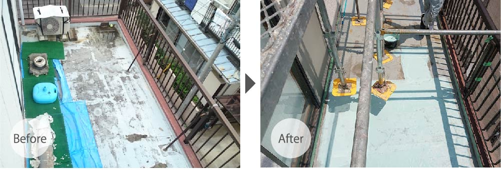 船橋市の屋上・ルーフバルコニーの防水工事のビフォーアフター