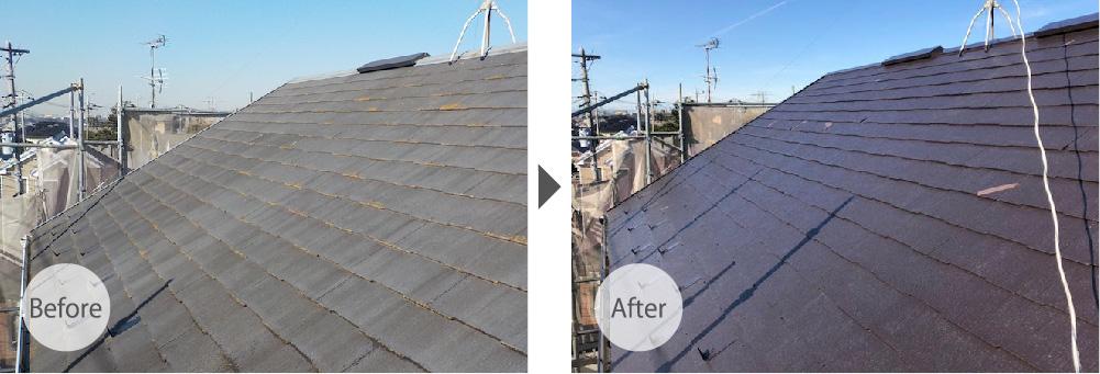 船橋市の屋根塗装の施工事例の様子