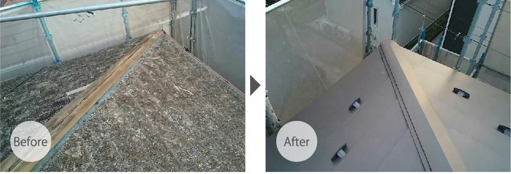 屋根リフォーム施工事例のビフォーアフター