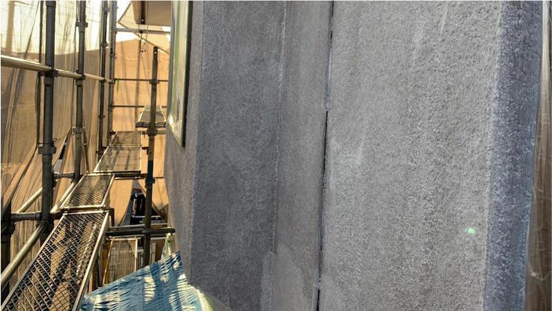 市原市の外壁塗装の下塗り施工後の様子