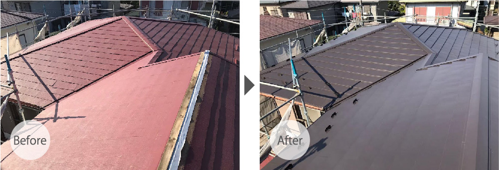 吉川市の屋根カバー工法のビフォーアフター