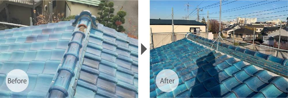 取手市の屋根修理のビフォーアフター