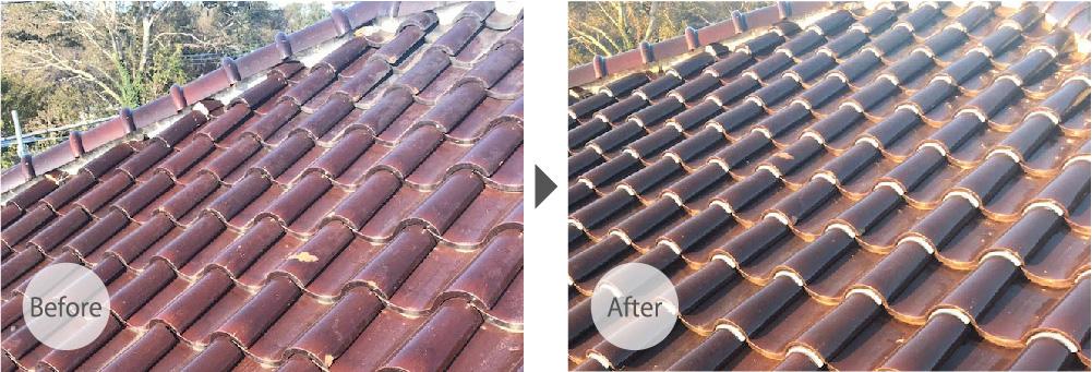 四街道市の屋根修理の施工事例のビフォーアフター