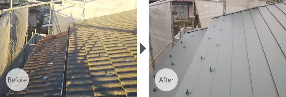 鎌ヶ谷市の屋根葺き替え工事のビフォーアフター