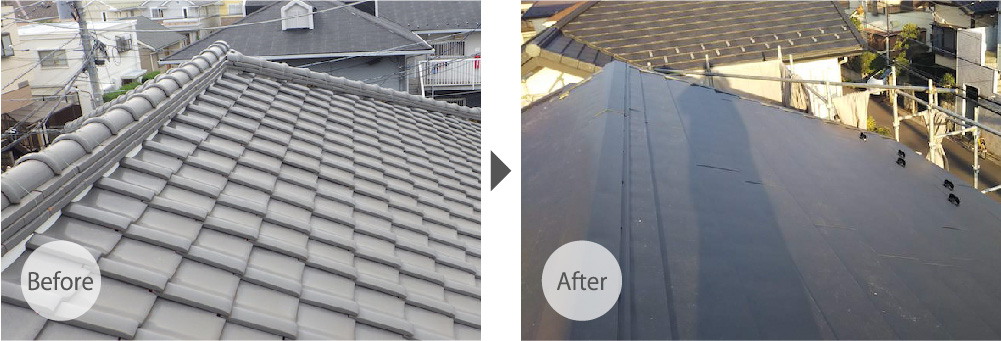 四街道市の屋根葺き替え工事の施工事例のビフォーアフター
