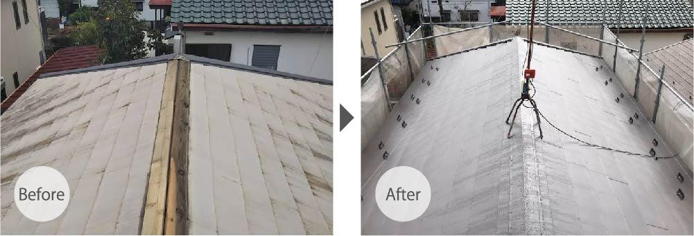 鎌ヶ谷市の屋根リフォームの施工事例