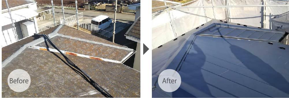 四街道市の屋根カバー工法のビフォーアフター