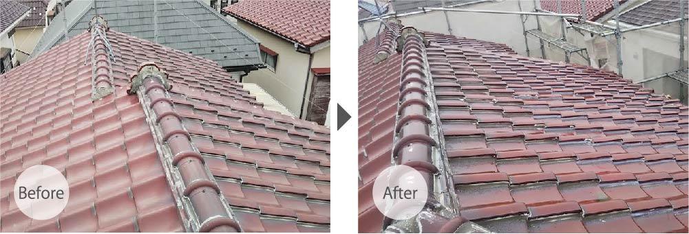 市川市の屋根修理の施工事例のビフォーアフター