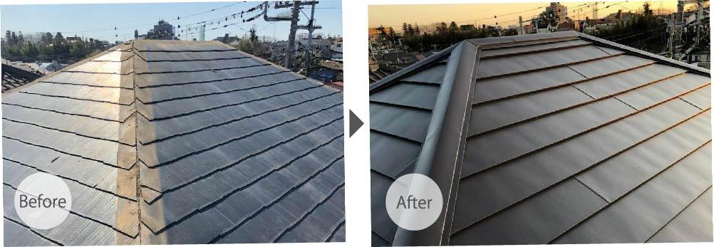 市原市の屋根カバー工法のビフォーアフター