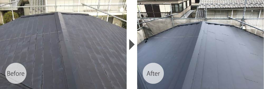松戸市の屋根カバー工法リフォームのビフォーアフター