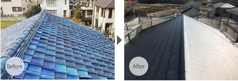 川口市の屋根葺き替え工事のビフォーアフター