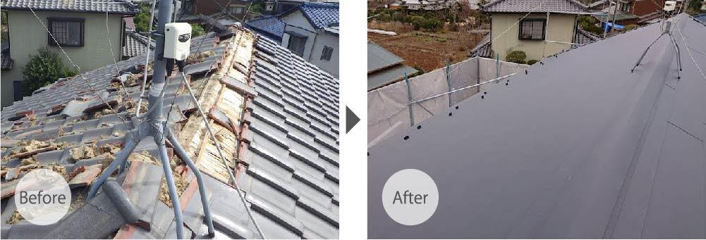 木更津市の屋根葺き替え工事のビフォーアフター
