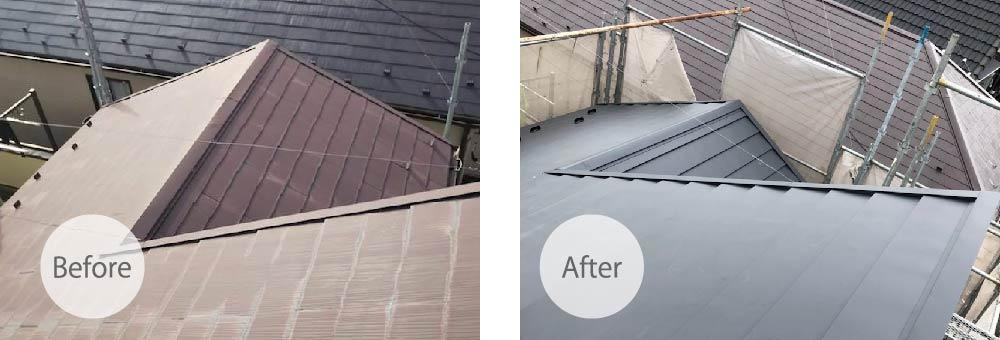 市原市の屋根の葺き替え工事のビフォーアフター