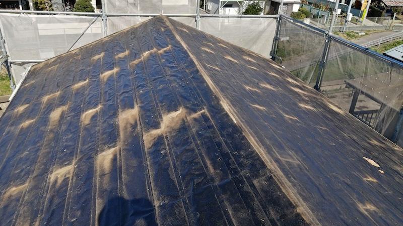 鎌ケ谷市の屋根の葺き替え工事の屋根の剥がし
