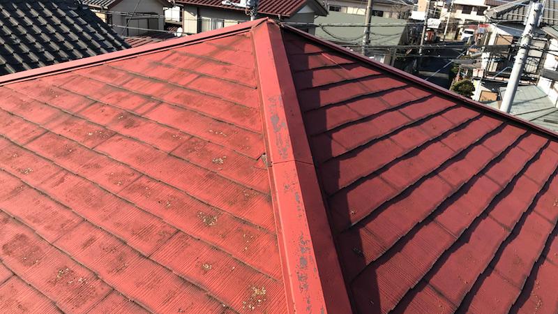 佐倉市の屋根塗装の施工前の様子