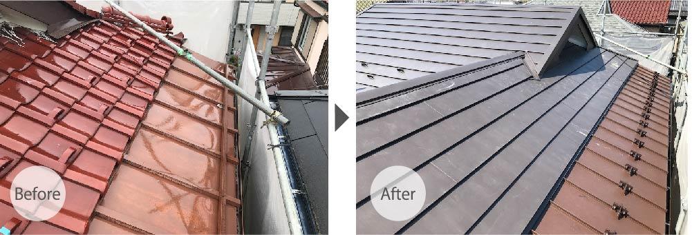 市川市の屋根の葺き替え工事のビフォーアフター
