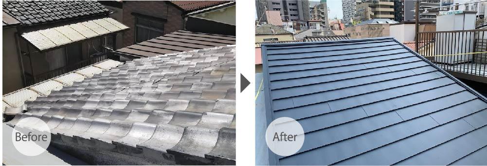 船橋市の屋根修理のビフォーアフター