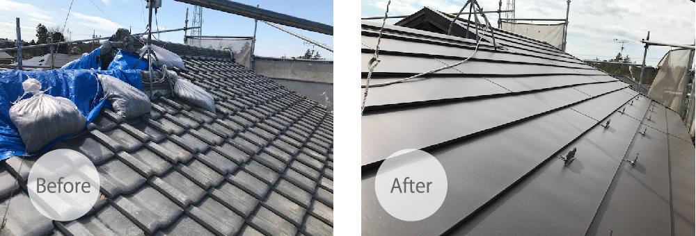 富里市の屋根葺き替え工事のビフォーアフター