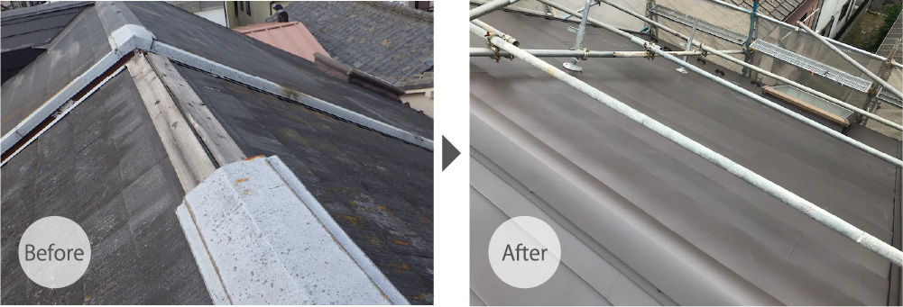 台東区の屋根カバー工法のビフォーアフター
